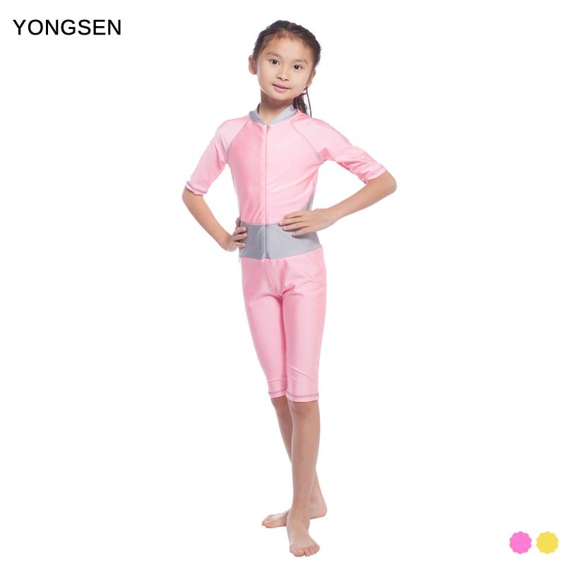YONGSEN Modest Quality Muslim Swim Burkinis Short Islamic Swimsuits for Children Girls Muslim Swimwear Bathing Summer