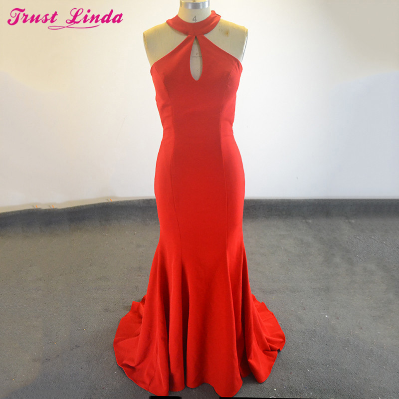 Sexy Open Back Mermaid Red   Bridesmaid     Dresses   2018 Pretty Halter Sweep Train Satin Prom Party Wear   Dresses   Prom Gowns Plus Size