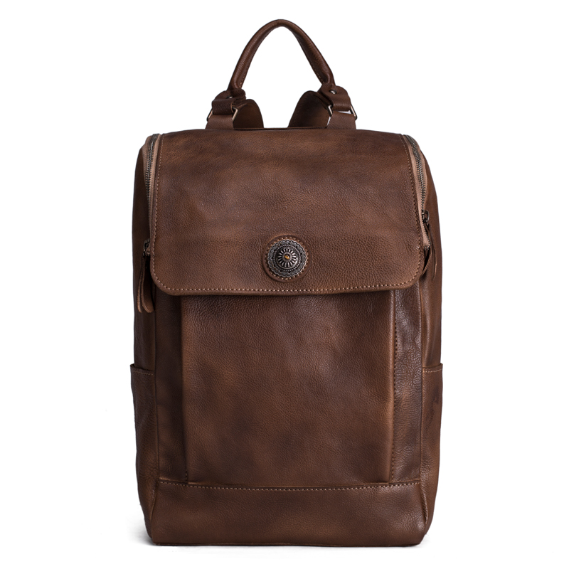 Handmade Vintage Style Vegetable Tanned Leather Backpack, Travel Backpack, School Backpack 9026