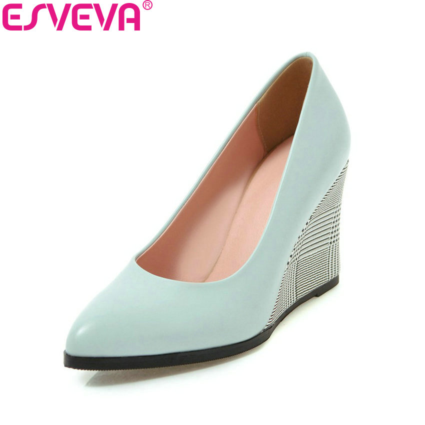 ESVEVA 2018 Women Pumps Spring and Autumn Wedges High Heels PU Pointed Toe Platform Slip on Pumps Women Shoes Size 34-43 siketu 2017 free shipping spring and autumn women shoes sex high heels shoes wedding shoes sweet lovely pumps g126