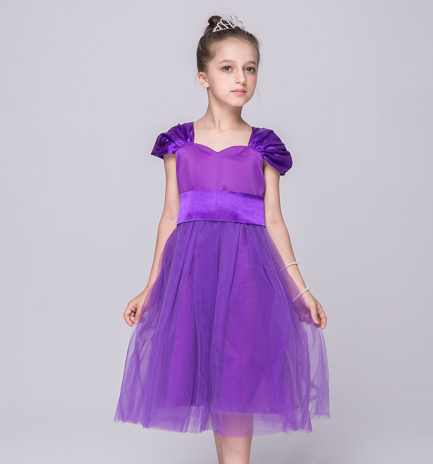 Party Mesh Dress Children Designer Summer Wear Kids White Emerald Green Purple Flower Girl Dresses for Weddings Clothes gril flower dress multi storey white clothes stage girl performance children show clothes for dance with a pair of glove