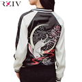 RZIV Autumn satin embroidery bomber jacket women souvenir jacket coat baseball sukajan jacket  reversible coat