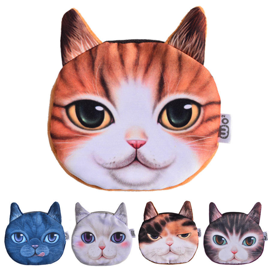 2017 Top Fashion 3D Cute Cat Face Printing Zipper Coin Purse Women