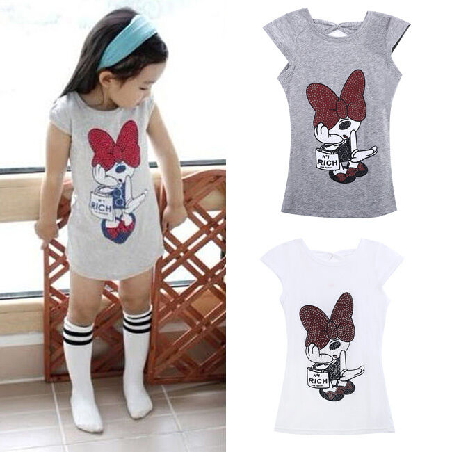 Cute Cartoon Minnie Mouse Vest Dress Kids Clothes Baby Sleeveless Party Dress Toddler Girl Dress Clothes 3-8Year