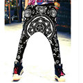 LURSSN 2017 Lady Women DIY Baggy Hip Hop Dance Sweat Pants Fashion Elastic Loosed Trousers Polyester Nice Printed Freeshipping
