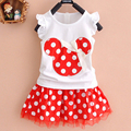 Summer new fashion girls summer sets printing mouse two color free shipment casual clothing sets for girls party
