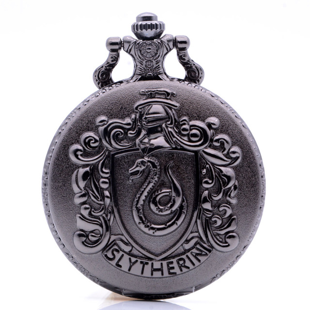 Vintage Antique Harry Potter SLYTHERIN Mens Womens Quartz Pocket Watch Analog Pendant Necklace Chain Black Bronze Regarder Gift