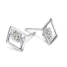2017 new S925 standard Silver Square Stud Earrings Boutique inlay The one and only personality 11mm free shipping