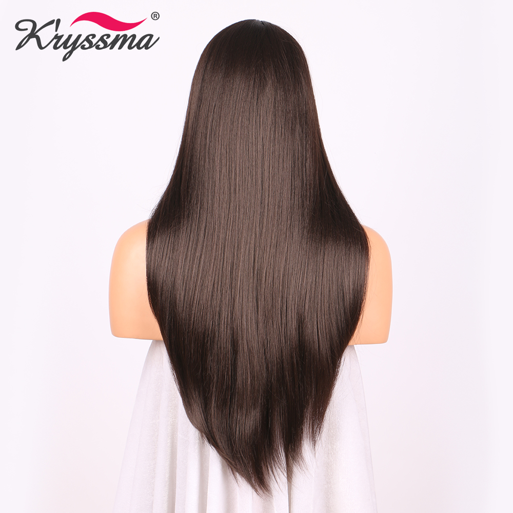 ≧Long Brown Wig with Bangs Natural Looking Straight Synthetic ...