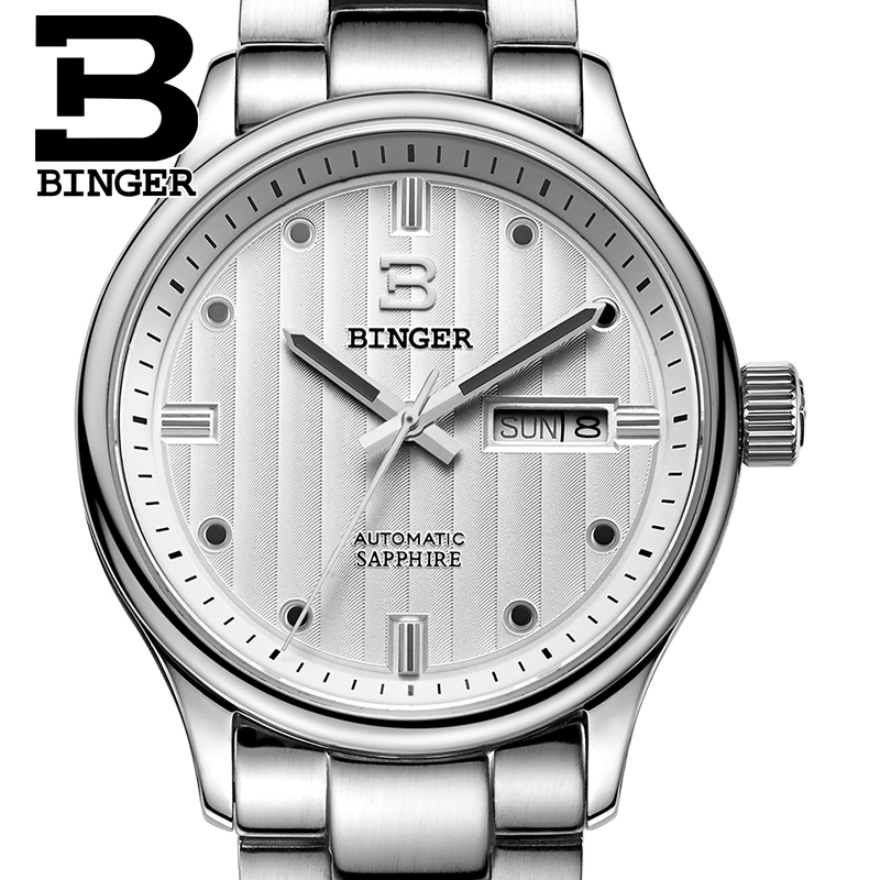 Full Stainless Steel Switzerland Men's Watch Luxury Brand Wristwatches BINGER business Automatic Men Watches sapphire B5006-7 цена
