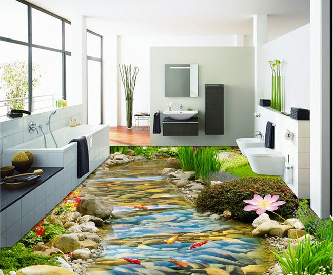 ФОТО 3 d pvc flooring custom wall sticker 3 d Hd streams goldfish lotus 3d bathroom flooring painting photo wallpaper for walls 3d