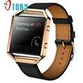 Excelente calidad 2016 de lujo genuino reloj de cuero banda de reemplazo correa de muñeca + estructura de metal para fitbit incendio smart watch
