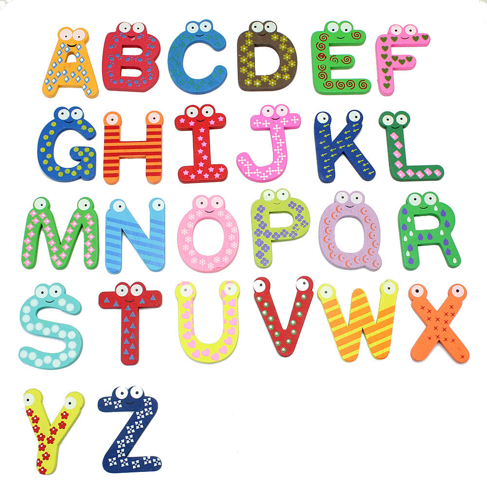 26 Pcs Letters Alphabets Wooden Fridge Magnet Educational Baby Kids Toy Set New Design 454cm Alphabet In Magnets From Home Garden