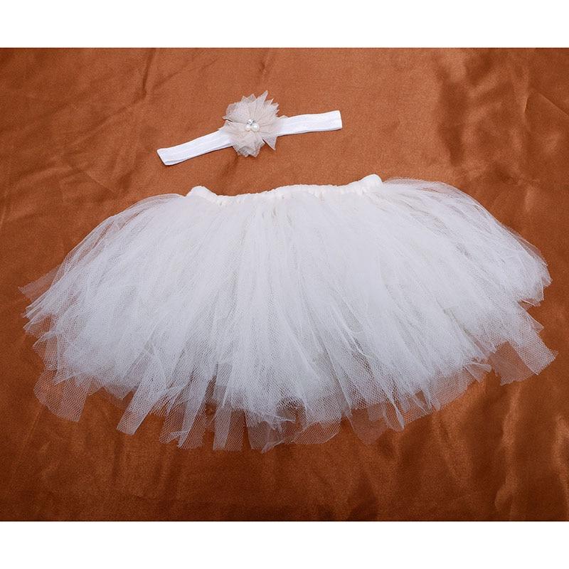 NoEnName-Null милый, для новорожденных девочек юбка-пачка и повязка на голову с цветком, наряд для фотосессий, Рождественский Костюм - Цвет: Beige