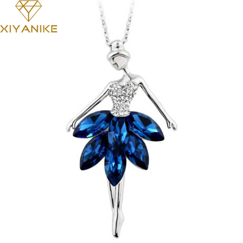 XIYANIKE Elegant Blue Crystal Ballerina Girl Pendant Rhinestone Necklaces & Pendants Long Sweater Chain Statement Jewelry N53