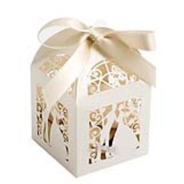 100pcs Design Luxury Lase Cut Wedding Sweets Candy Gift Favour Bo With Ribbon Table Decorations