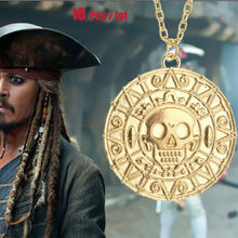 (10 pcs/lot) 2018 Pirates of the Caribbean Aztec Coin Necklace Pendant cosplay accessary(China)