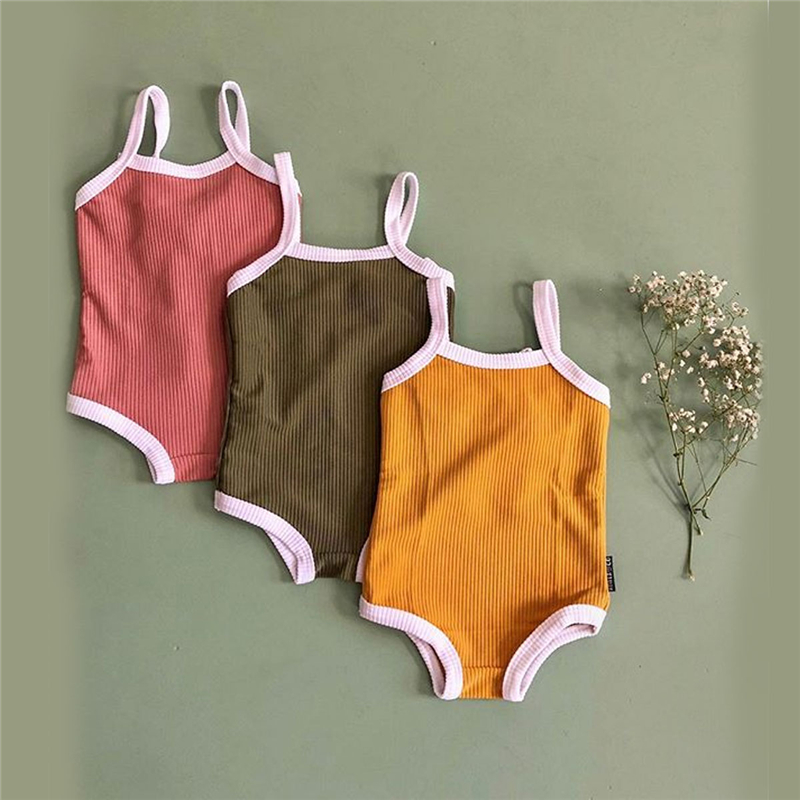 >Newborn Baby Girl Clothes Strap Knitted Romper Sleeveless Pure <font><b>Color</b></font> Jumpsuit <font><b>Casual</b></font> Beach Wear Cute Girl <font><b>Outfits</b></font> Summer 2019