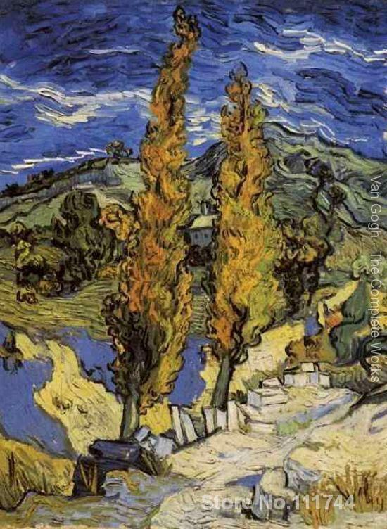 Deux peupliers sur le chemin des collines Vincent Van Gogh famous paintings oil canvas reproduction High quality Hand paintedDeux peupliers sur le chemin des collines Vincent Van Gogh famous paintings oil canvas reproduction High quality Hand painted