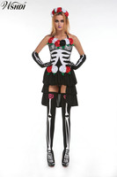 Scary Skull Ghost Bride Costumes Deluxe Vampire Witch Costume Adult Cosplay Halloween Fantasias Costumes For Women