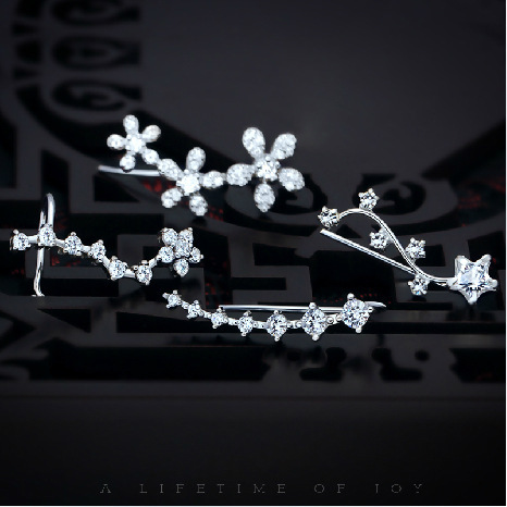 1Pair 925 STERLING SILVER Jewelry cz Star Flower Round Prong Trail Up Ear Climber Earrings Ear Cuff Stud Earrings girls GTLE1421Pair 925 STERLING SILVER Jewelry cz Star Flower Round Prong Trail Up Ear Climber Earrings Ear Cuff Stud Earrings girls GTLE142