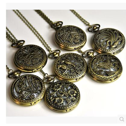 Mixed Sale 7style Flowers Butterfly Hollow Woman And Men Steampunk Necklace Pocket Watches Dial45MM Gift