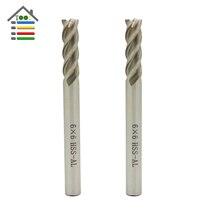 Cnc tool 4 Flutes 6mm Router Bit Vertical Milling Cutter HSS Al Carbide End Mill Metal