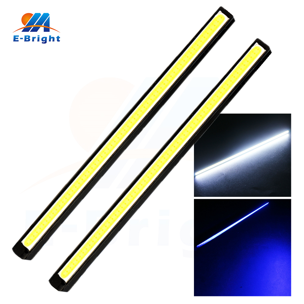 2pcs 8inch COB 3W Led Bulb Bar Lamps DRL Auto Warning Daytime Running Light Car Light Source 12V White Blue Free Shipping