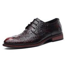 Ручная работа; повседневная мужская обувь из натуральной кожи на плоской подошве; мужские деловые оксфорды с узором «крокодиловая кожа»; мужская кожаная обувь