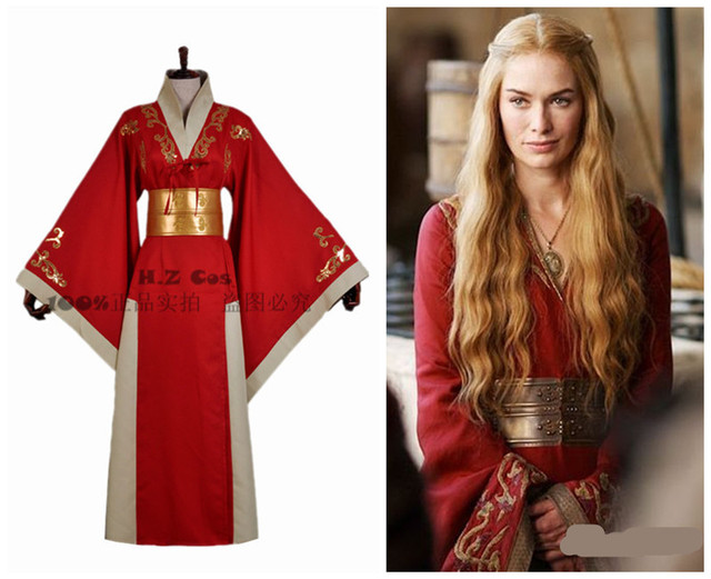 Game Of Thrones Cersei Lannister Costume Cersei Red Robe Dress ...