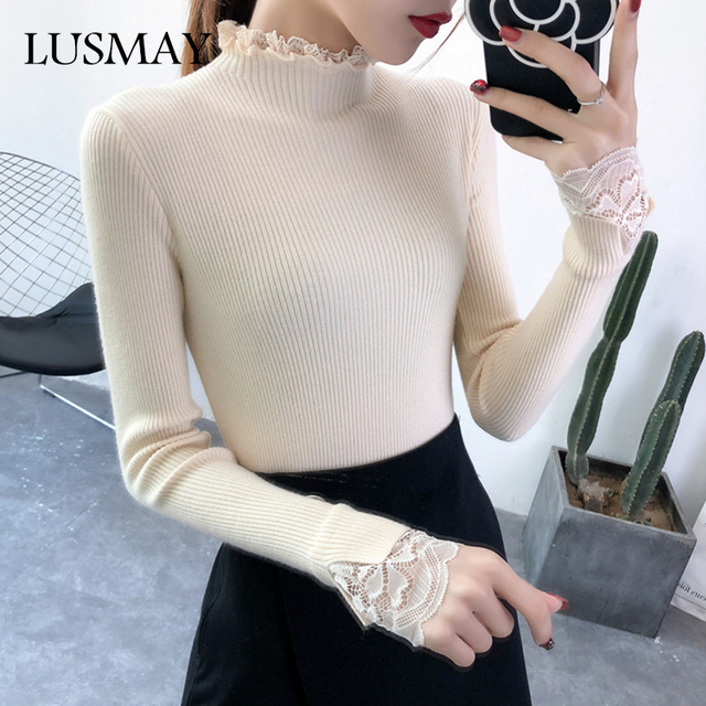 c8f7e94e9 Turtleneck Slim Knitted Sweaters Womens Autumn 2018 Fashion Long Sleeve  Lace White Black Sweater Pullover Elegant