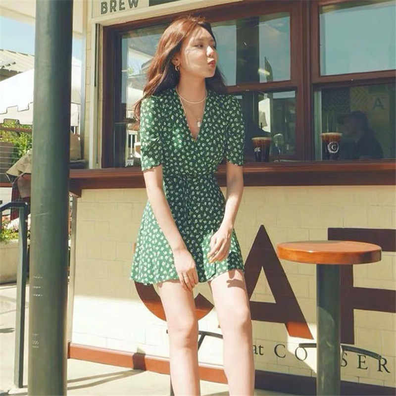 Новое летнее платье больших размеров для девочек, вечерние платья из шифона в стиле бохо, винтажное платье с зеленым принтом, женские платья с коротким рукавом, Robe Vestido