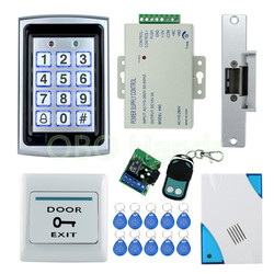 Free shipping Full waterproof access control system kit set with Electric Strike Lock+Remote control+Door bell+power+exit+10keys
