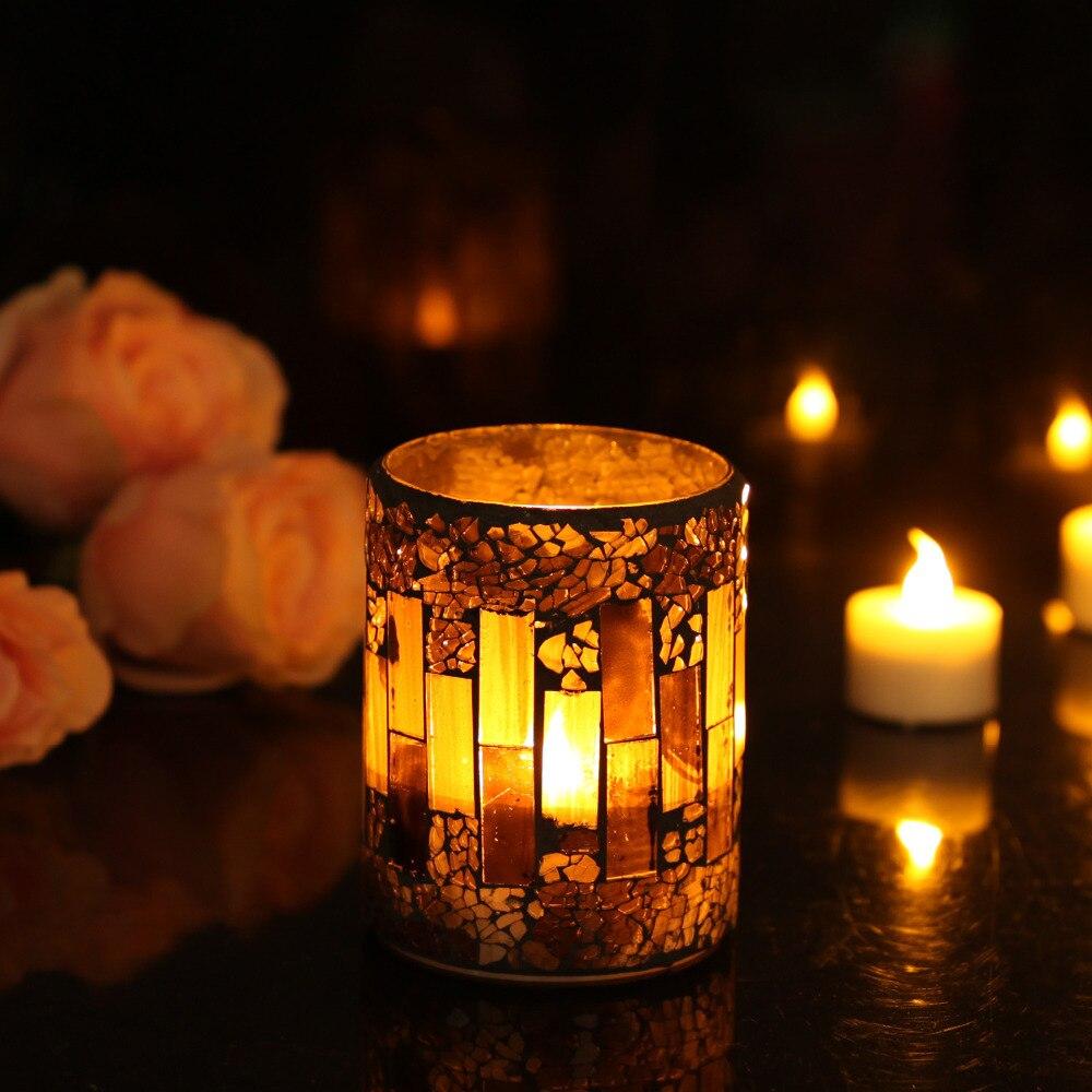 DFL Bande Motif Fissure Mosa¯que En Verre Sans Flamme Pilier Led Wax Candle Light avec Minuterie