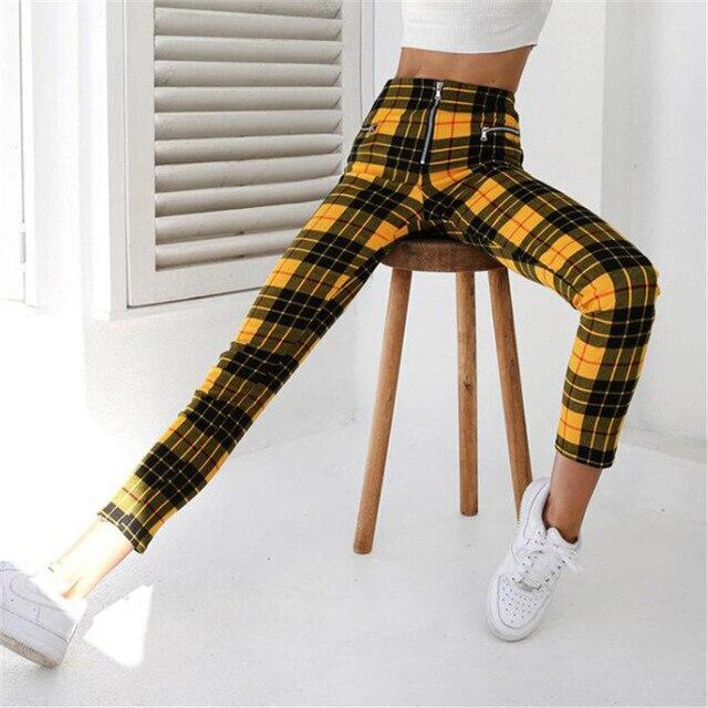 New Stylish Black Yellow Red Zip-up Plaid Sexy Plaid Pants Sweatpants Women Side Stripe Trousers Fashion pant pantalon mujer