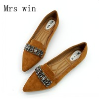 3 Color Spring Autumn Women Ballet Flats Shoes Pointed Toe Slip On Crystal Woman Single Shoes