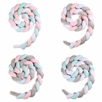 200cm Baby Bed Bumper Weaving Rope Knot Design Newborn Crib Pad Protection Cot Bumper Infant Bedding Accessories Room Decoration