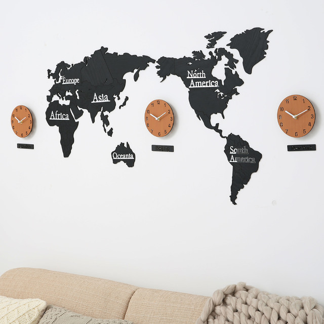 Diy 3d Wooden Mdf Digital Wall Clock World Map Large Cheap Wall