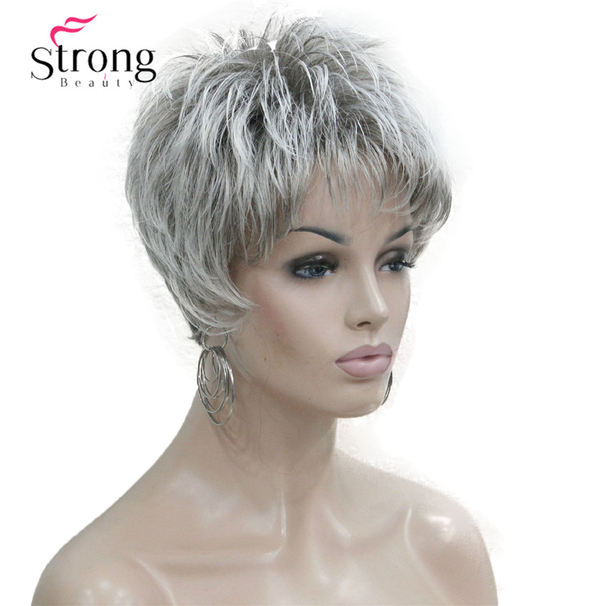 StrongBeauty Short Layered Grey Silver Shag Classic Cap Full Synthetic Wig