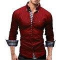 Camisa de Algodón Ocasional de los hombres Tamaño EE. UU. S ~ 3XL Solid Slim Fit Button Down Camisas 10 Colores de Manga Larga moda camisa masculina