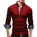Men's Cotton Casual Shirt US Size S~3XL Solid Slim Fit Button Down Shirts 10 Colors Long Sleeve Fashion camisa masculina