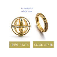 fashion women ring 925 silver chain Astronomical Sphere Ball Ring Cosmic Finger Ring Couple Lover Jewelry #ss50