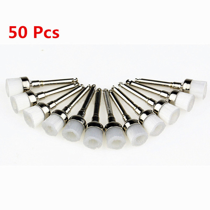 50pcs/Pack Dental Lab Nylon Small Latch/Taper Polishing Polisher Prophylaxis Soft Brushes Dentist Products 0.6cm Brus