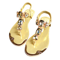 Plus Size 35 42 Summer Style Shoes Women Sandals 2015 Ankle Wrap Rhinestone Flat Sandals For