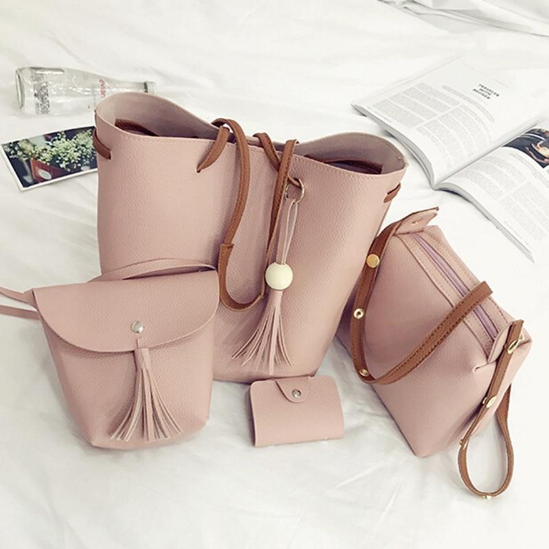 4pcs/Set Fashion Women Bag Tassel Pure PU Leather Composite Bag For Women Clutch Handbag Set Large Shoulder Bag Tote Bolso Mujer