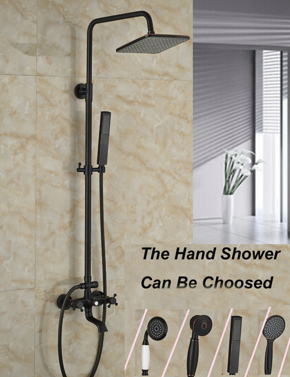 Wholesale And Retail Square Rain Shower Head Faucet Dual Cross Handles Tub Mixer Tap W/ Hand Shower Sprayer Wall Mounted