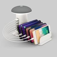 5 Ports USB Hub Quick Charge Smart USB QC3.0 Charger Station LED Mushroom Desk Light Phone Charging Stand US/EU/UK/AU Plug