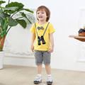summer 2017 casual set kids clothes boys tshirt set with bow tie clothing sets boy short sleeve cotton t-shirt and short suit