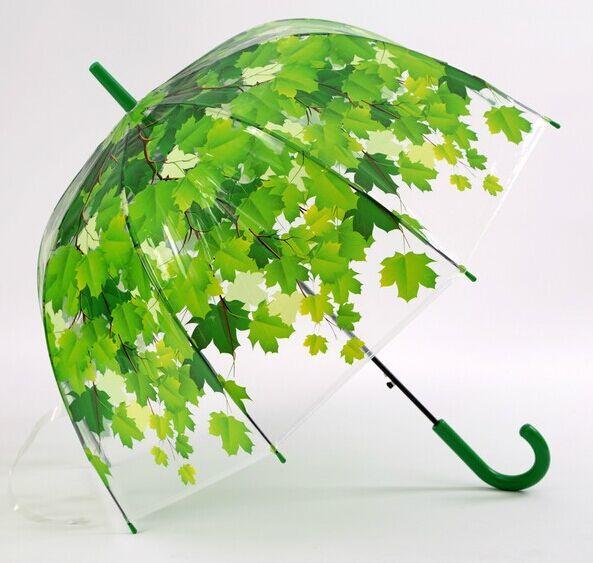 Woman Umbrella 2016Creative Freash PVC Transparent Mushroom Green/orange Leaves 4Seasons arch long umbrella sun/Rain Umbrella