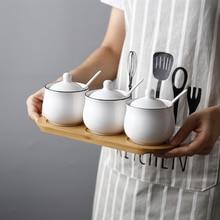 Saim 3pcs/set Kitchen Supplier Spice Seasoning Jar Container Salt Bottle Can Sugar Bowl With Spoons Box JJ212